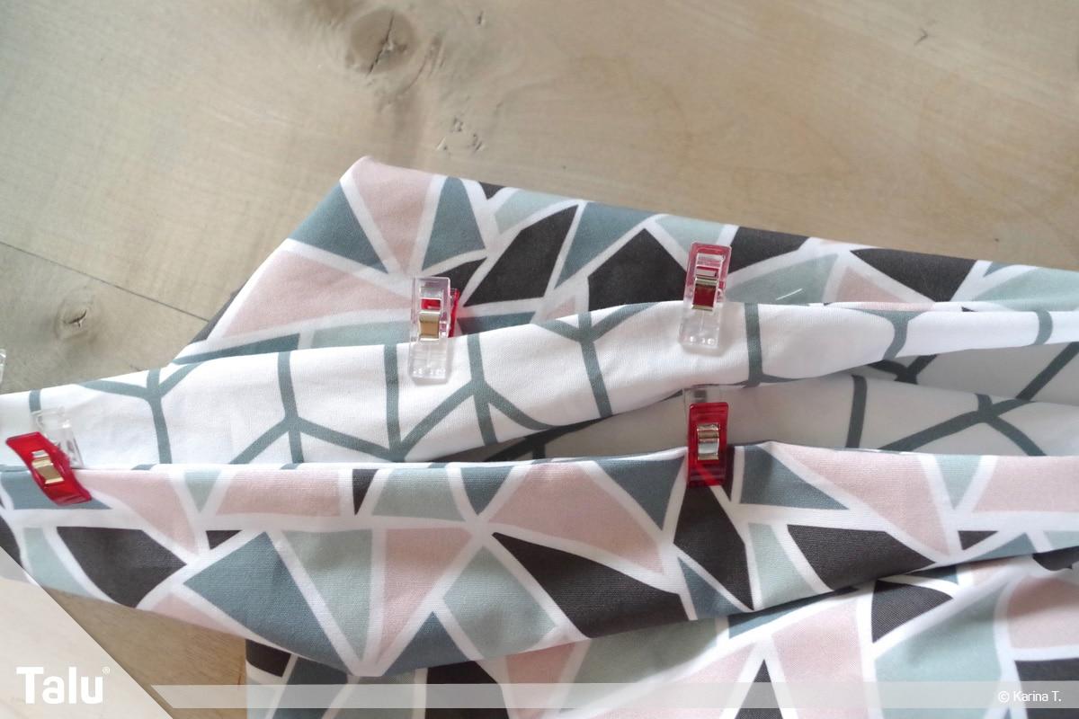 Origami Beutel nähen, Anleitung Origami-Wendetasche, auch Taschen-Öffnung mit Clips feststecken