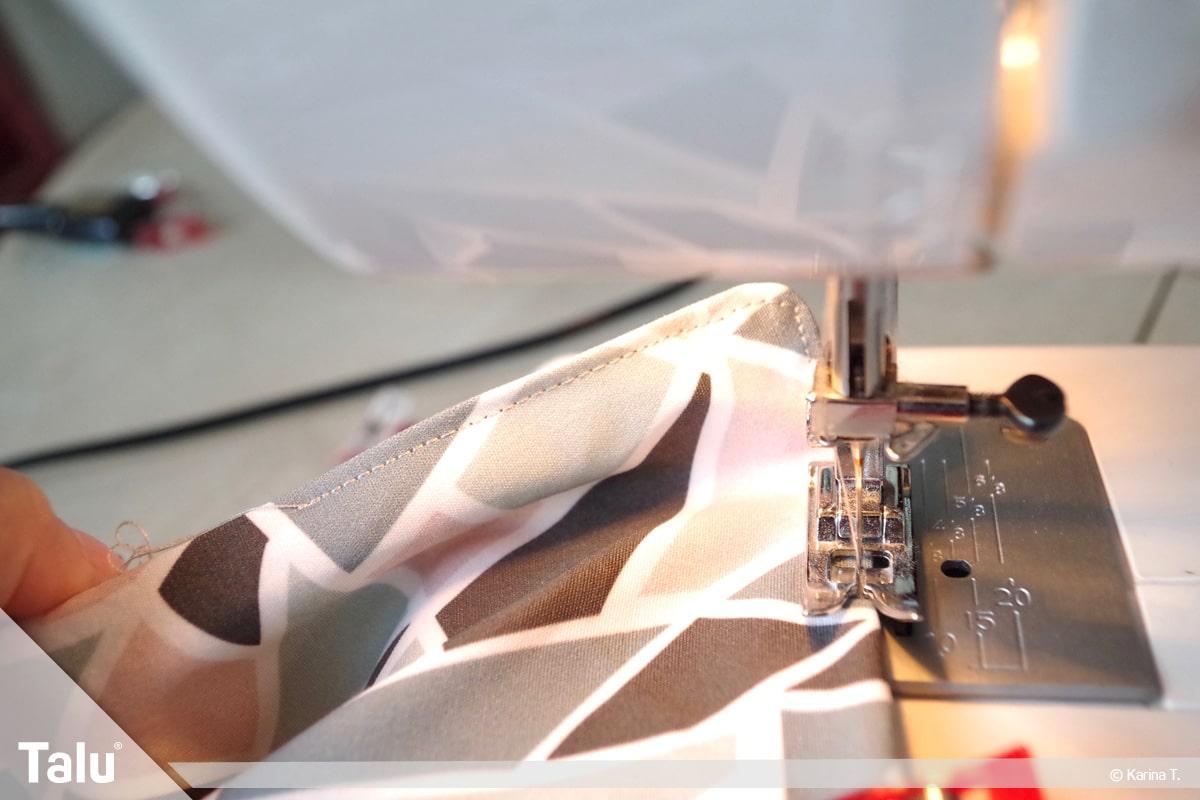 Origami Beutel nähen, Anleitung Origami-Wendetasche, Außenkante absteppen