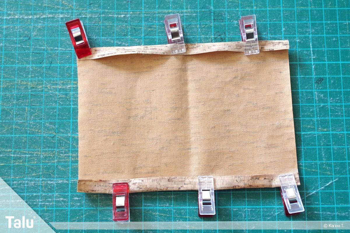 Origami Beutel nähen, Anleitung Origami-Wendetasche, Korkstoff-Seiten einschlagen