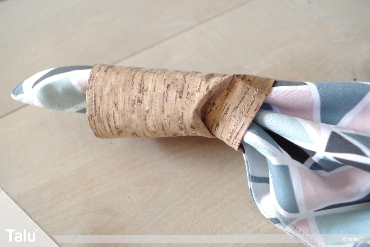 Origami Beutel nähen, Anleitung Origami-Wendetasche, Korkstoff-Überzug über Stoff ziehen