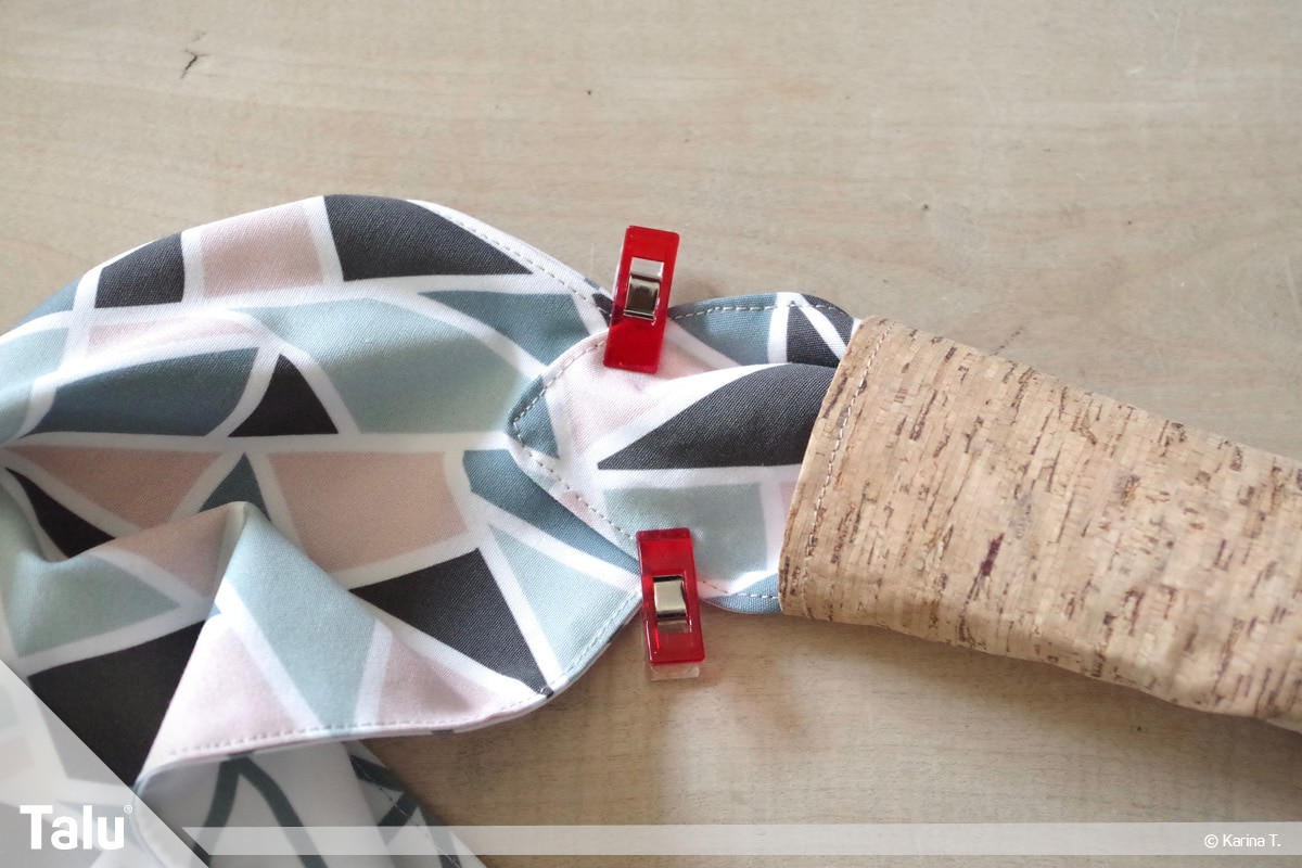 Origami Beutel nähen, Anleitung Origami-Wendetasche, kleine Naht neben Henkel setzen