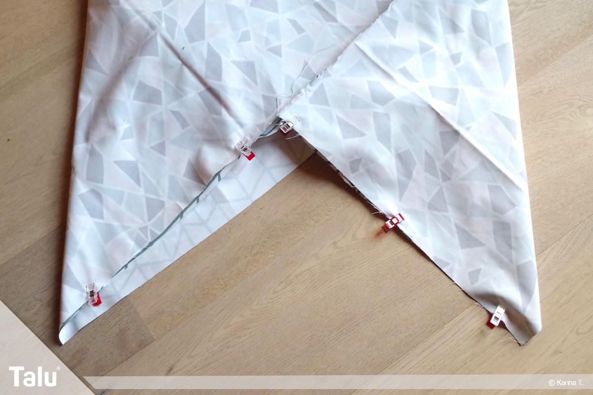 Origami Beutel nähen, Anleitung Origami-Wendetasche, obere Öffnung abstecken