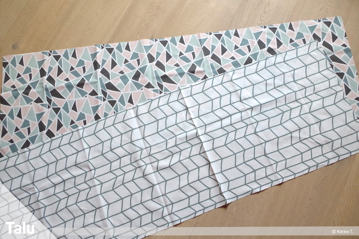Origami Beutel nähen, Anleitung Origami-Wendetasche, zugeschnittene Stoffteile