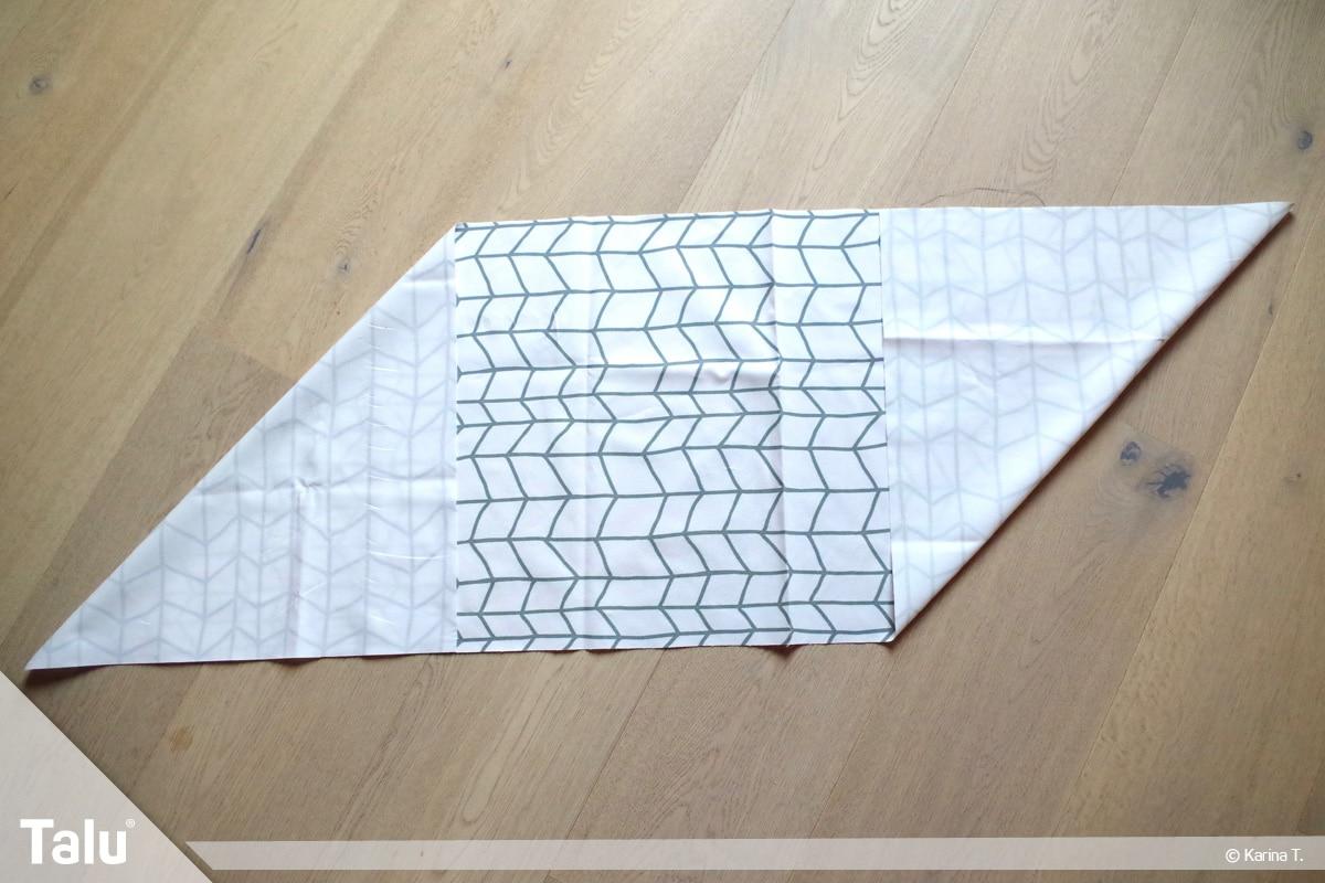 Origami Beutel nähen, Anleitung Origami-Wendetasche, Ecke einklappen beim zweiten Stoffstück