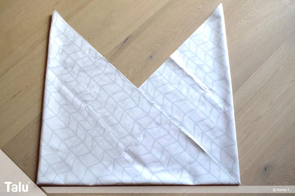 Origami Beutel nähen, Anleitung Origami-Wendetasche, Origami-Taschenform entsteht