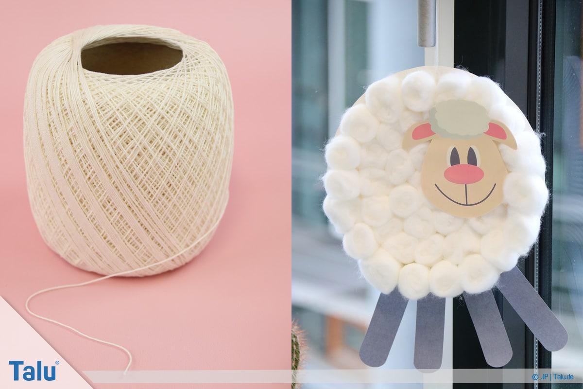 Schafe basteln aus Pappteller/Karton, mit Vorlage, Schnur zum Aufhängen anbringen