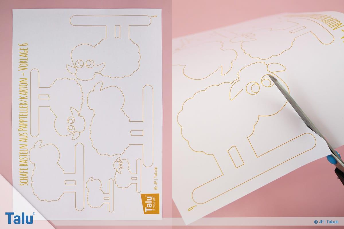 Schafe basteln aus Pappteller/Karton, mit Vorlage, Bastelvorlage für Schaf Variante Drei