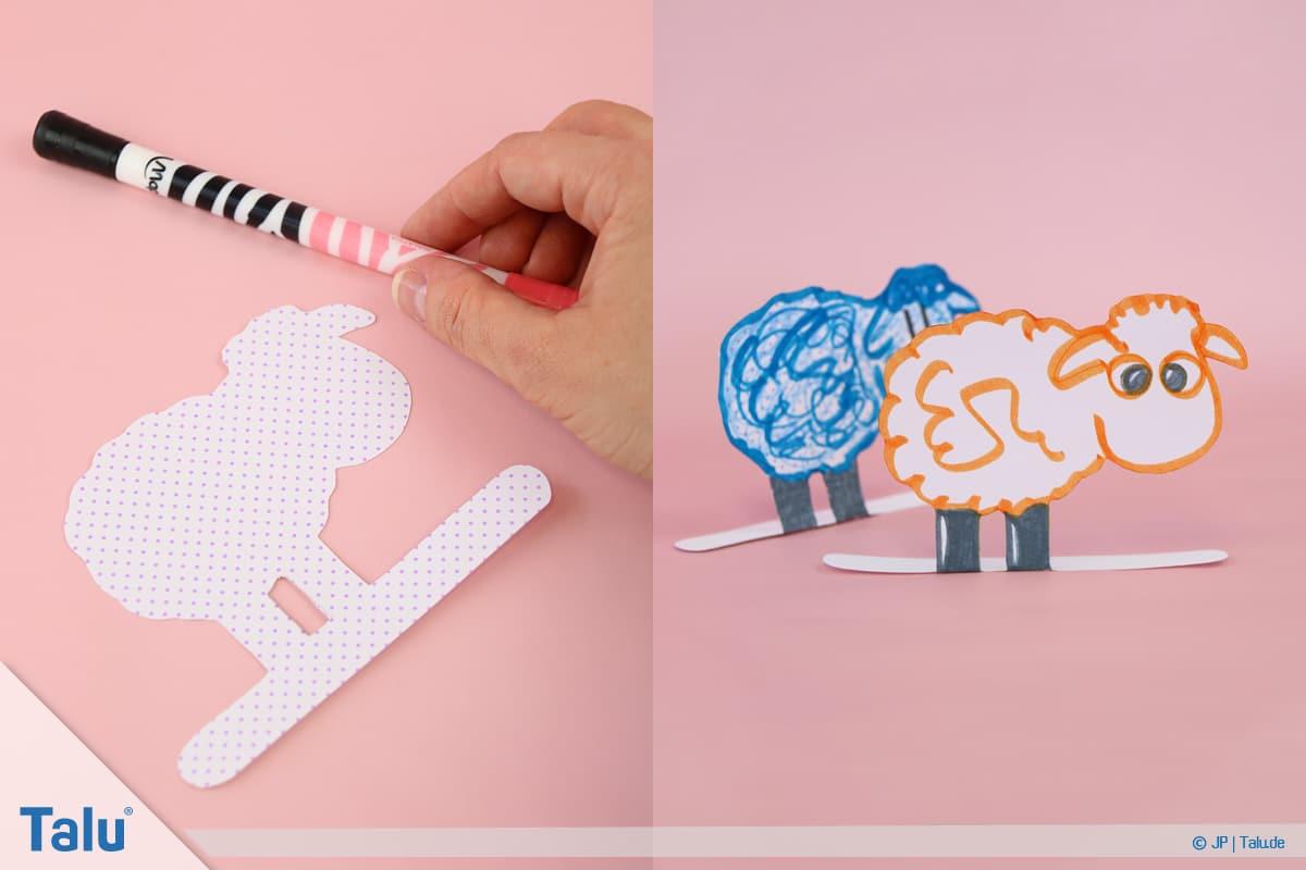 Schafe basteln aus Pappteller/Karton, mit Vorlage, Schaf nach Belieben verzieren