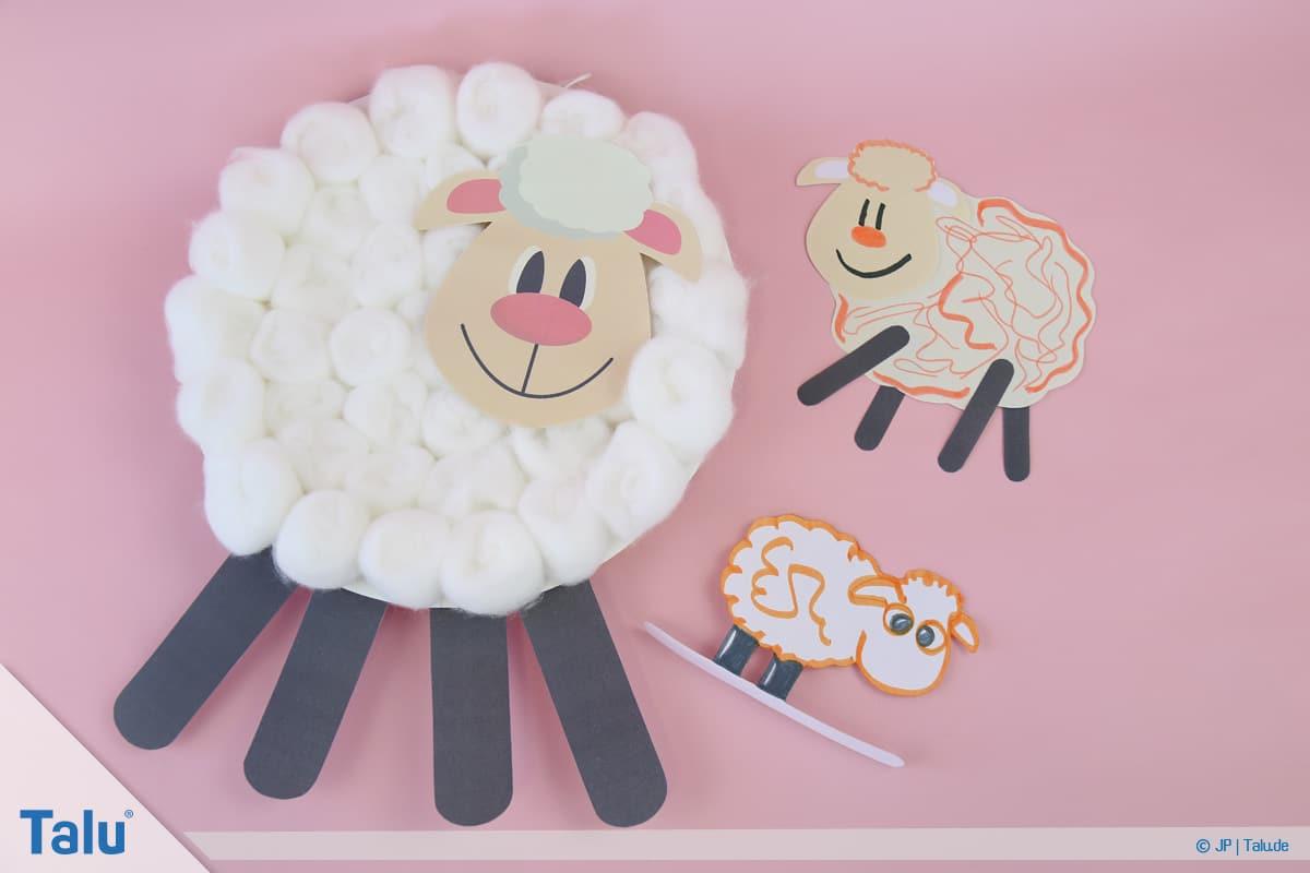 Schafe basteln aus Pappteller/Karton, mit Vorlage, alle gebastelten Schafe