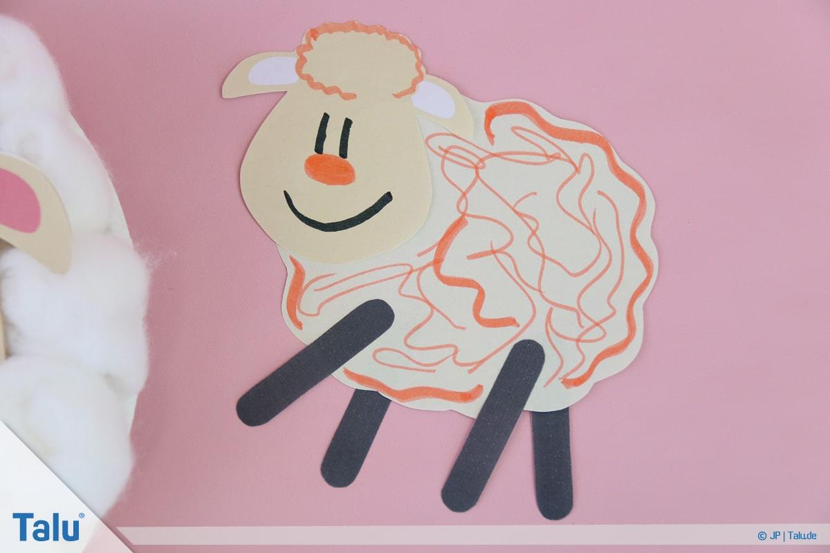 Schafe basteln aus Pappteller/Karton, mit Vorlage, Schaf-Variante Zwei
