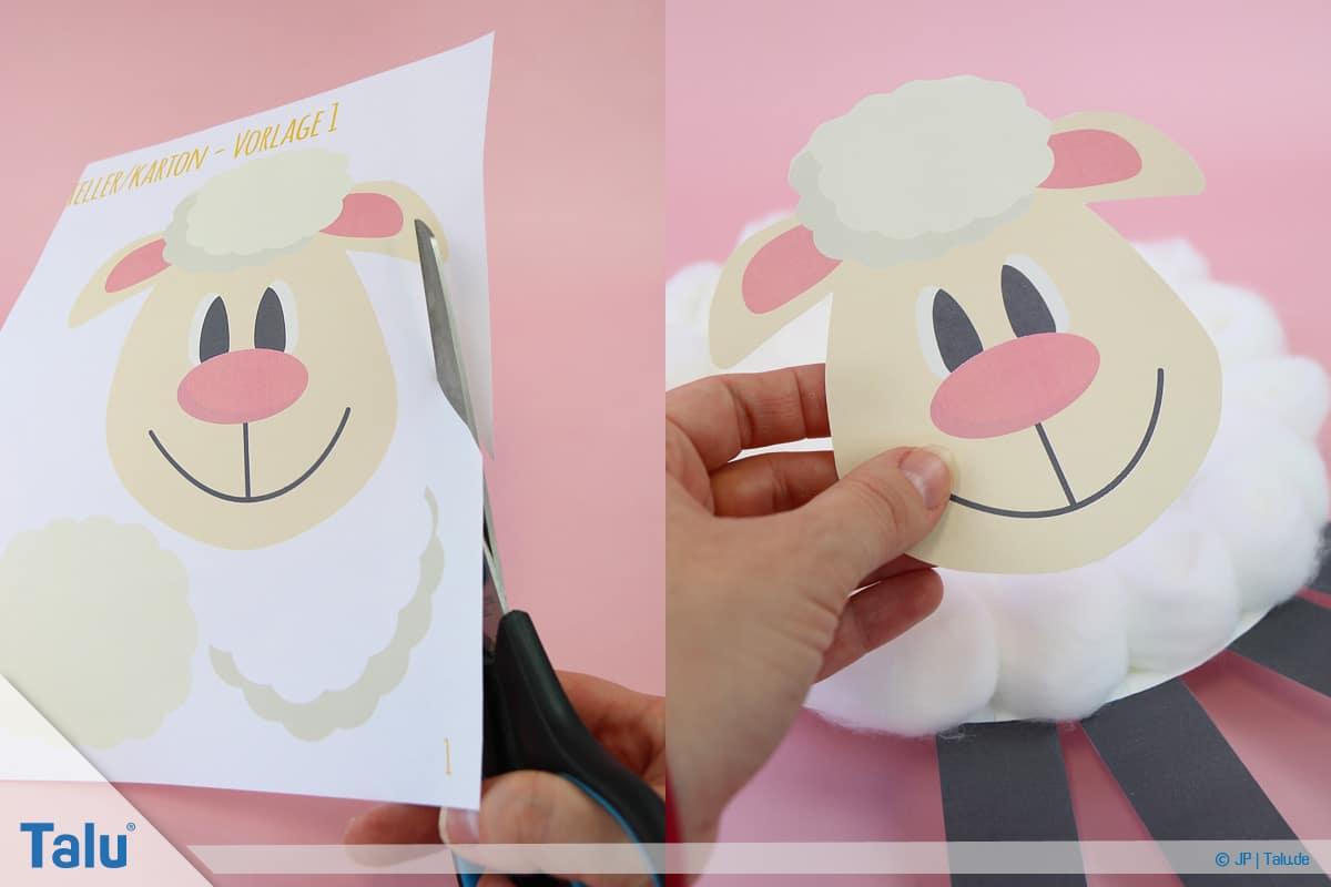 Schafe basteln aus Pappteller/Karton, mit Vorlage, Schaf-Gesicht ausschneiden