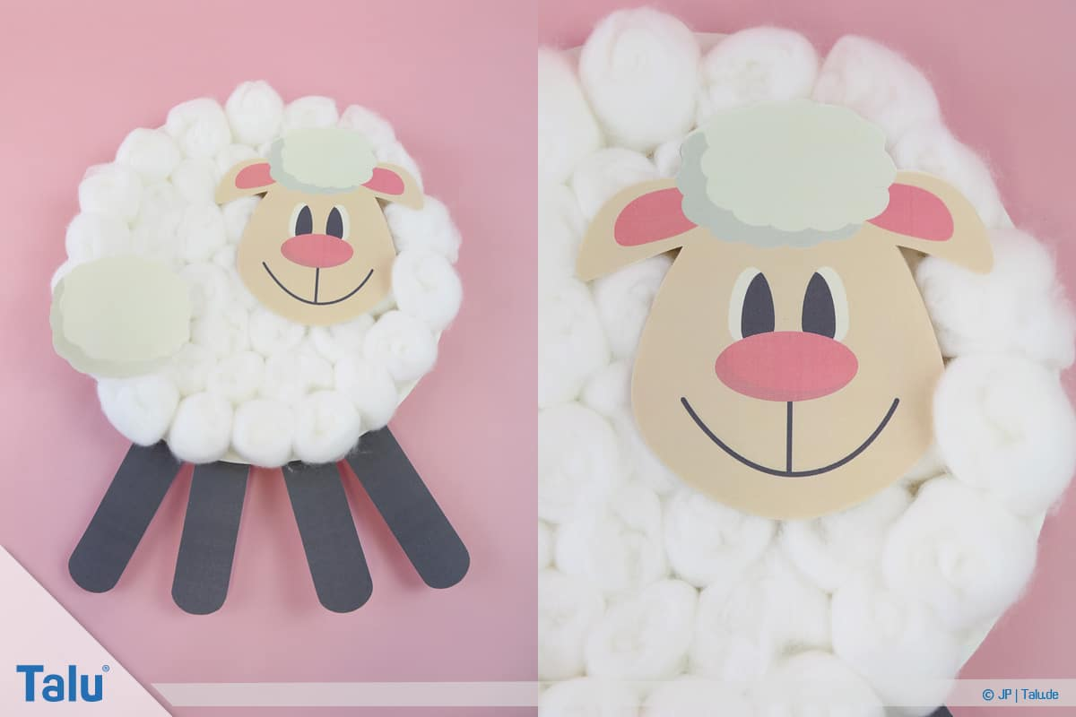 Schafe basteln aus Pappteller/Karton, mit Vorlage, Schaf-Gesicht aufkleben