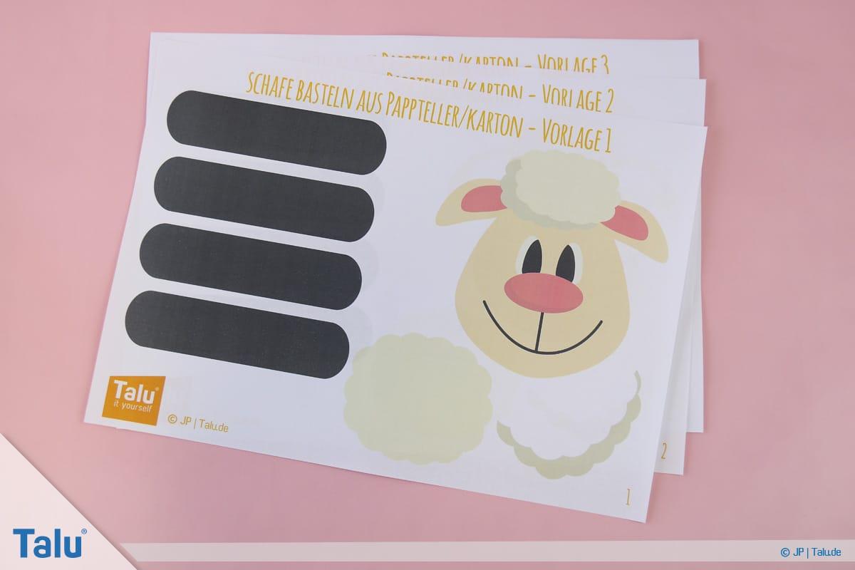 Schafe basteln aus Pappteller/Karton, mit Vorlage, Talu-Bastelvorlagen