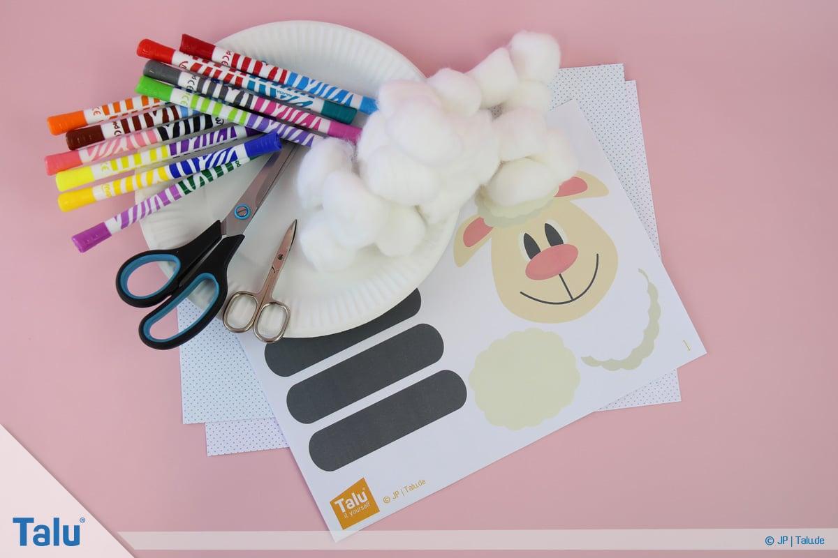 Schafe basteln aus Pappteller/Karton, mit Vorlage, Bastel-Materialien
