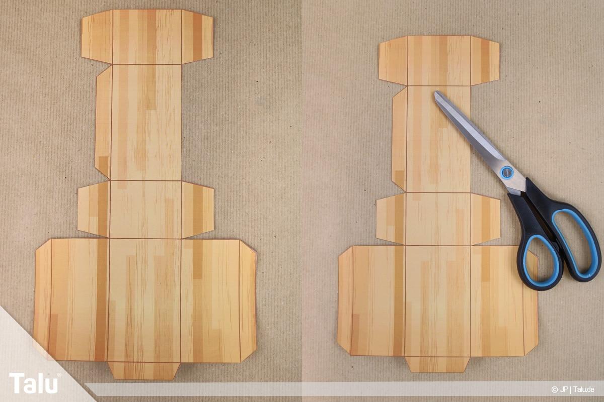 Schatztruhe basteln, Schatzkiste klein, ausgeschnittene Bastelvorlage