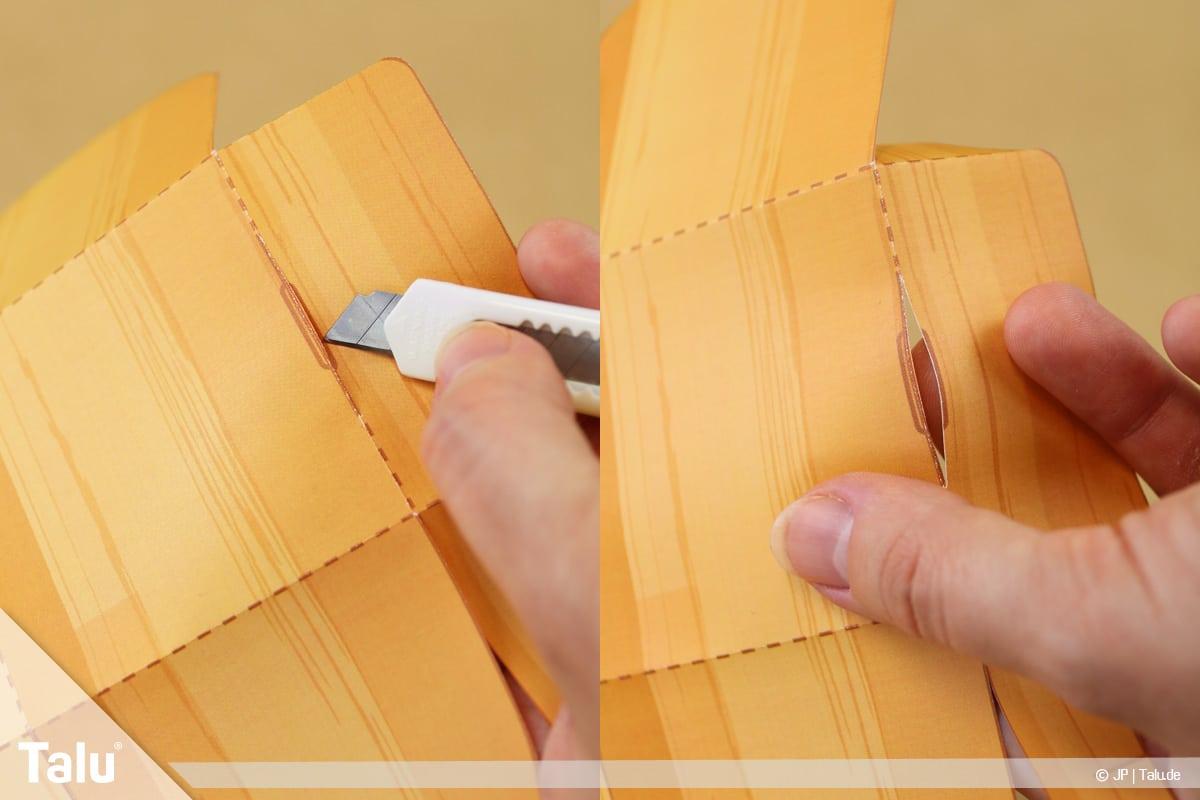 Schatztruhe basteln, Schatzkiste mit Schloss, mit Cuttermesser Öffnung in Truhe schneiden