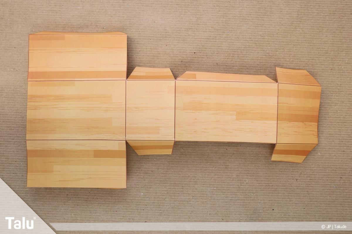 Schatztruhe basteln, Schatzkiste klein, gefaltete Schatztruhen-Bastelvorlage