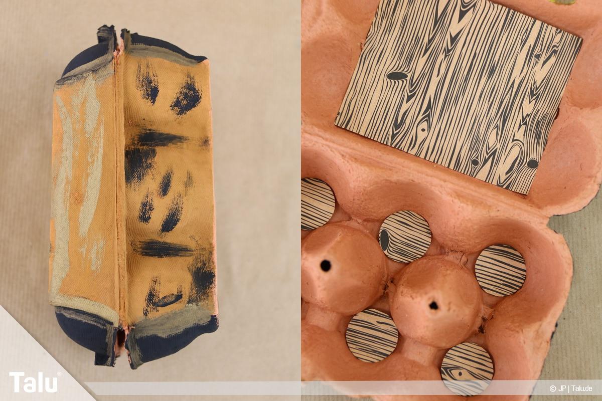 Schatztruhe basteln, Schatzkiste aus Eierkarton, Ansicht von außen und innen