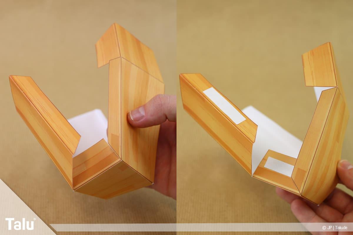 Schatztruhe basteln, Schatzkiste klein, Klebelaschen mit doppelseitigem Klebeband versehen
