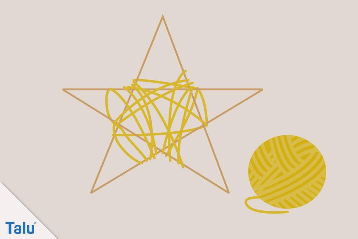Adventsdeko basteln, Ideen für die Adventsdekoration, Stern aus Holzstäben und Wolle