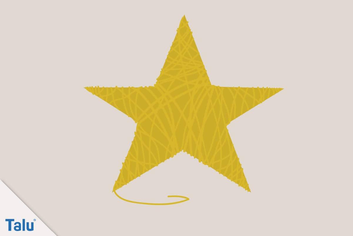 Adventsdeko basteln, Ideen für die Adventsdekoration, fertiger Stern aus Wollgarn