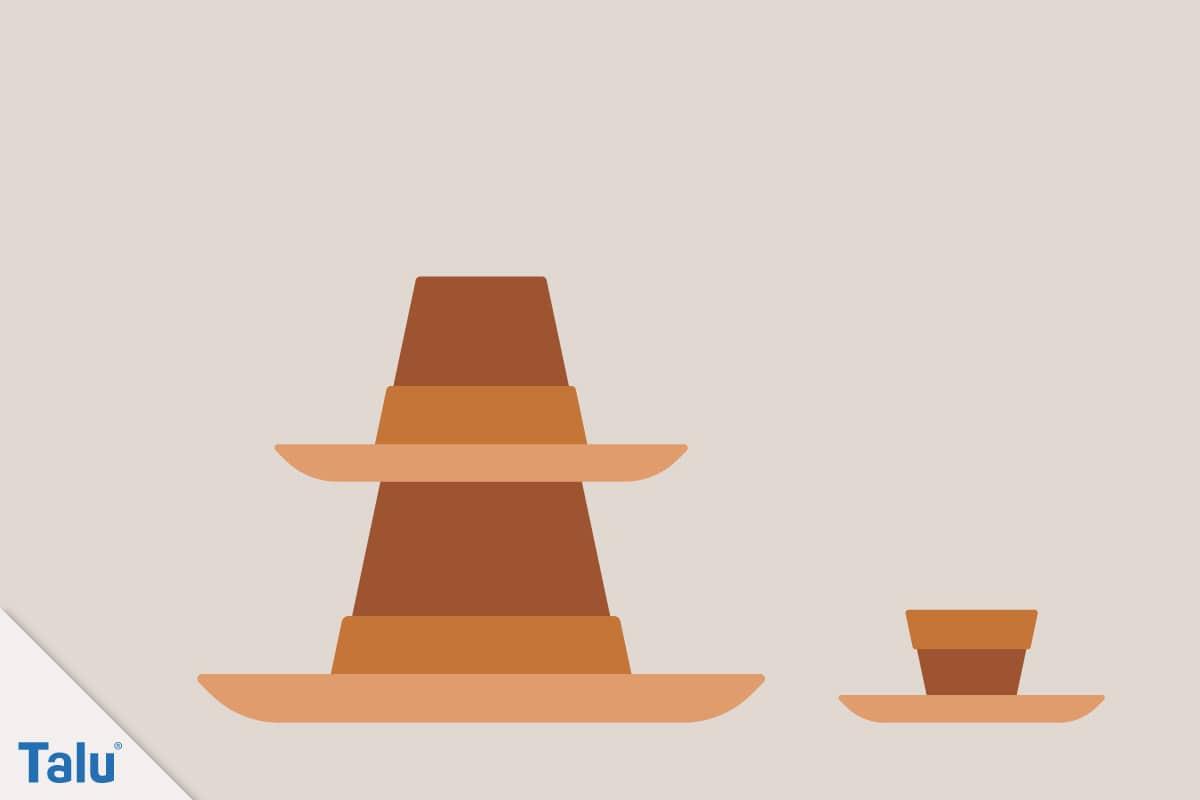 Adventsdeko basteln, Ideen für die Adventsdekoration, Tontöpfe für adventlichen Turm
