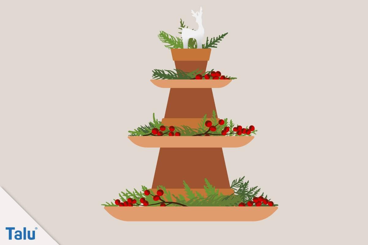 Adventsdeko basteln, Ideen für die Adventsdekoration, adventlicher Turm aus Tontöpfen