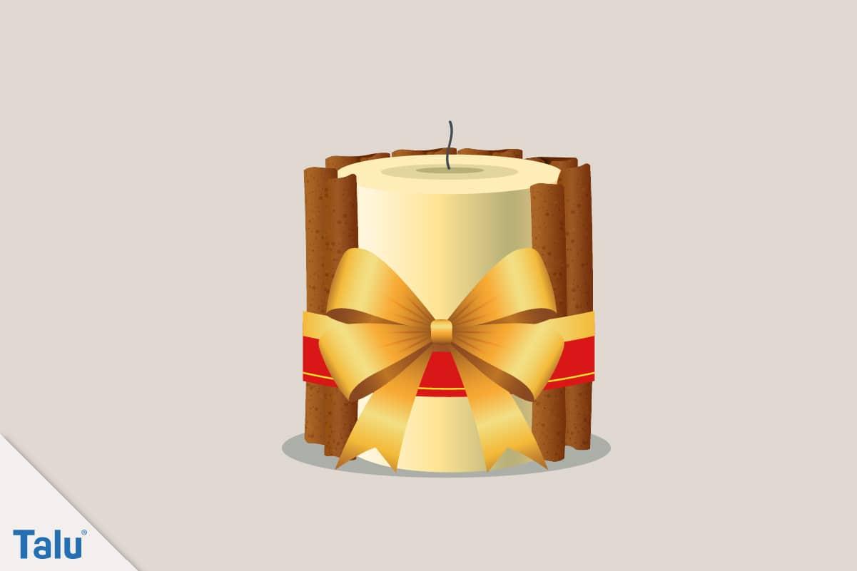 Adventsdeko basteln, Ideen für die Adventsdekoration, fertige Kerze mit Zimtstangen-Deko
