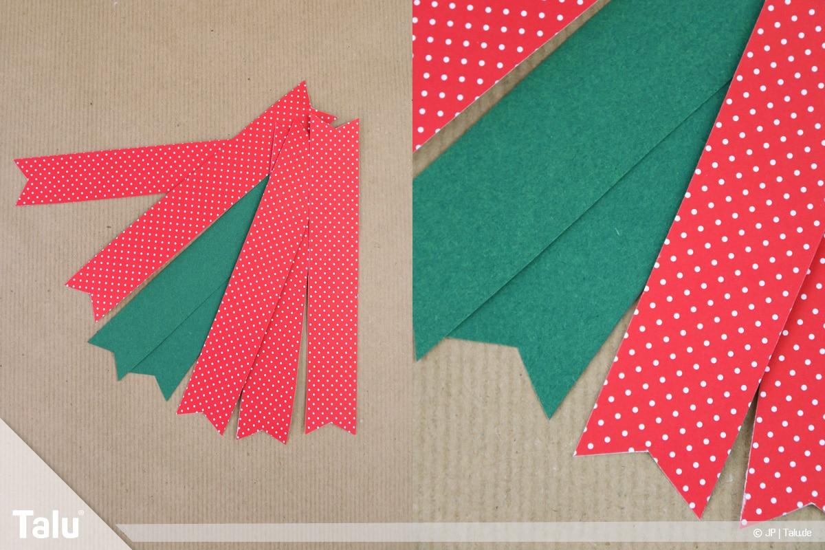 Basteln mit Papier an Weihnachten, Ideen, ausgeschnittene Papierstreifen