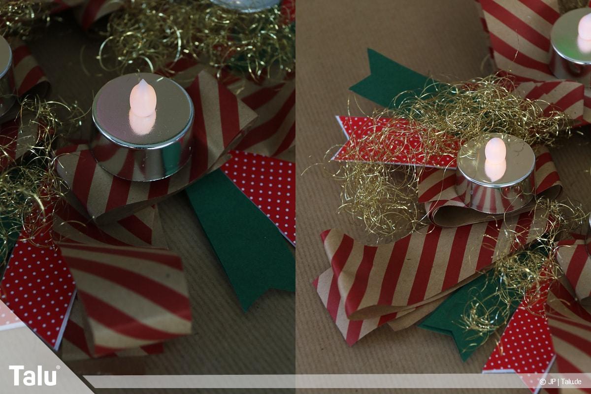 Basteln mit Papier an Weihnachten, Ideen, Adventskranz mit Papierstreifen nach Belieben dekorieren