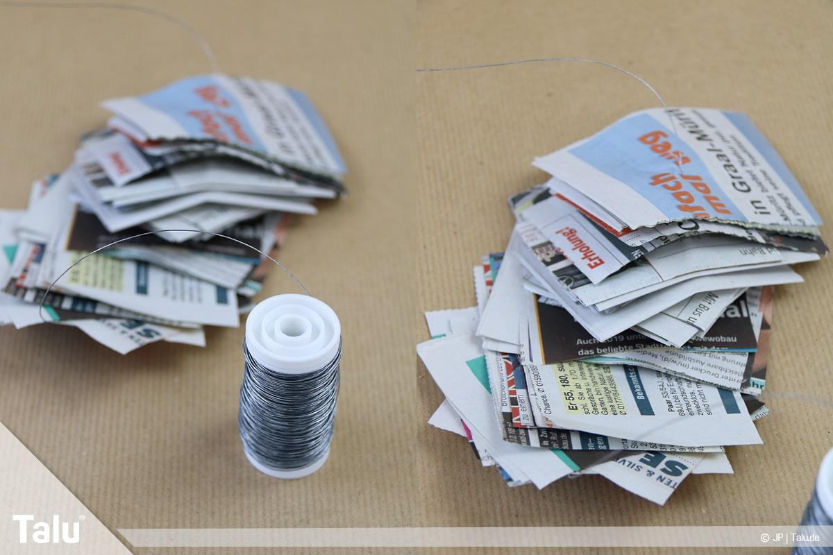 Basteln mit Papier an Weihnachten, Ideen, Adventskranz aus Zeitungspapierstückchen