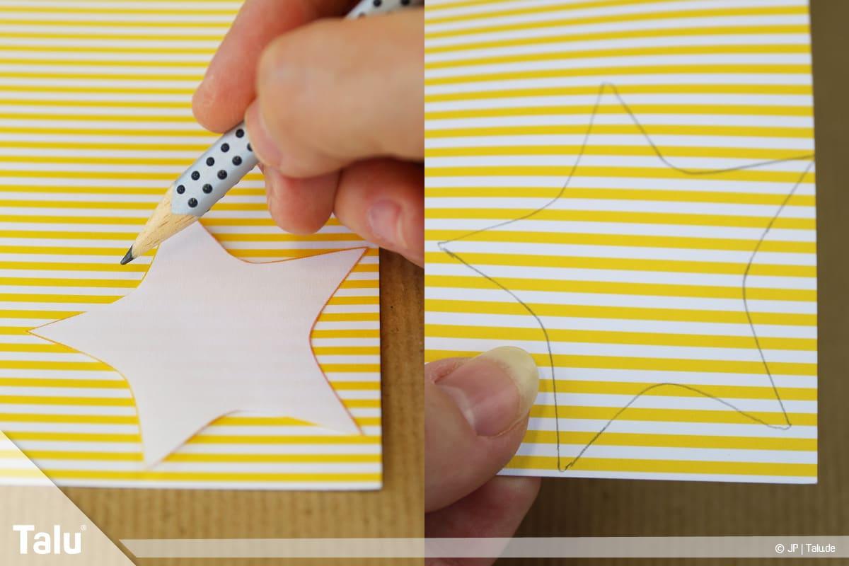Basteln mit Papier an Weihnachten, Ideen, Bastelvorlagen-Motiv als Schablone fürs Tonpapier nutzen