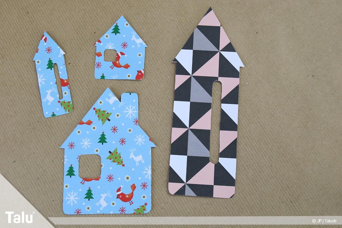 Basteln mit Papier an Weihnachten, Ideen, weihnachtliche Häuser-Fensterdeko basteln