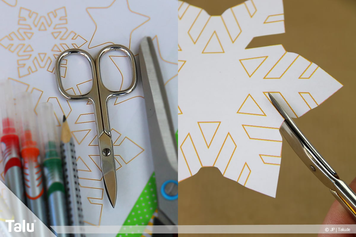 Basteln mit Papier an Weihnachten, Ideen, kleine Motivteile mit Nagelschere ausschneiden
