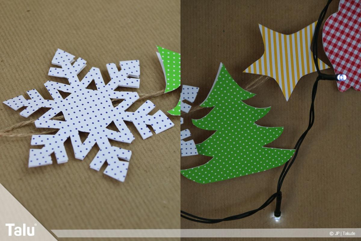 Basteln mit Papier an Weihnachten, Ideen, Girlande mit Motiven und Beleuchtung