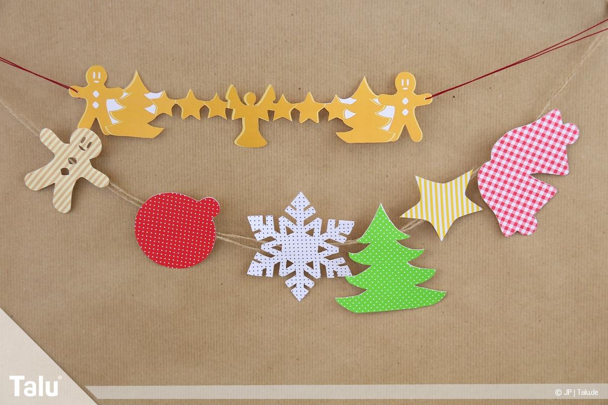 Basteln mit Papier an Weihnachten, Ideen, verschiedene Girlanden-Varianten