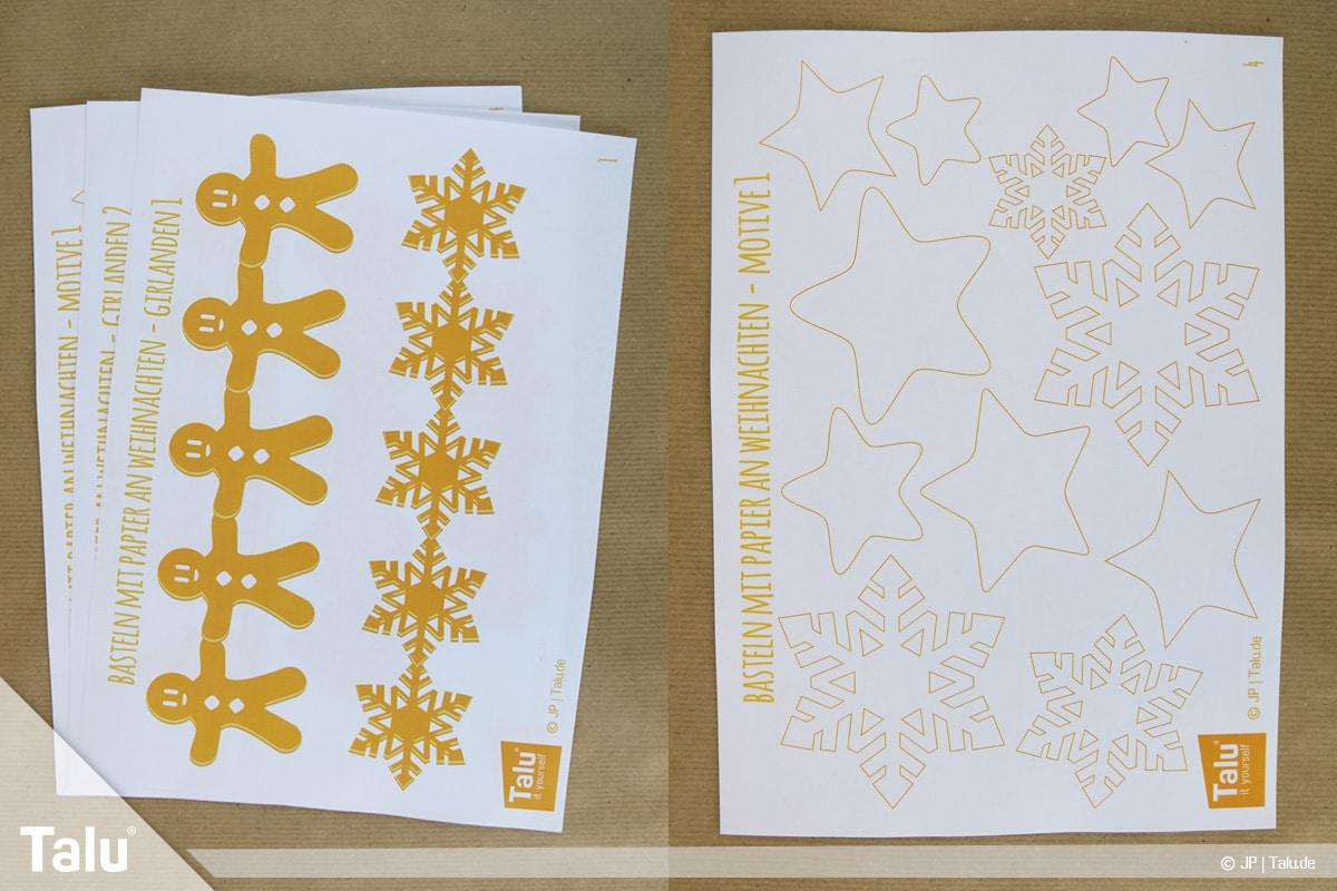 Basteln mit Papier an Weihnachten, Ideen, ausgedruckte Talu-Bastelvorlagen