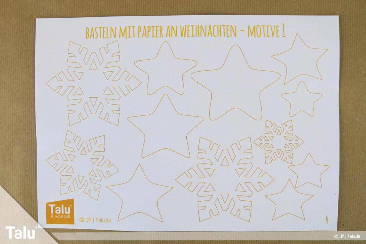 Basteln mit Papier an Weihnachten, Ideen, Talu-Bastelvorlagen-Motive