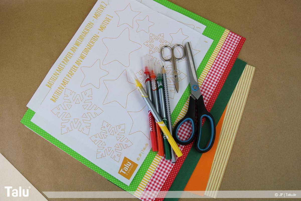 Basteln mit Papier an Weihnachten, Ideen, Bastel-Utensilien