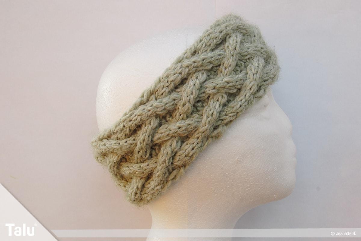 Keltische Muster stricken, Keltenmuster, fertiges Stirnband im Keltenmuster