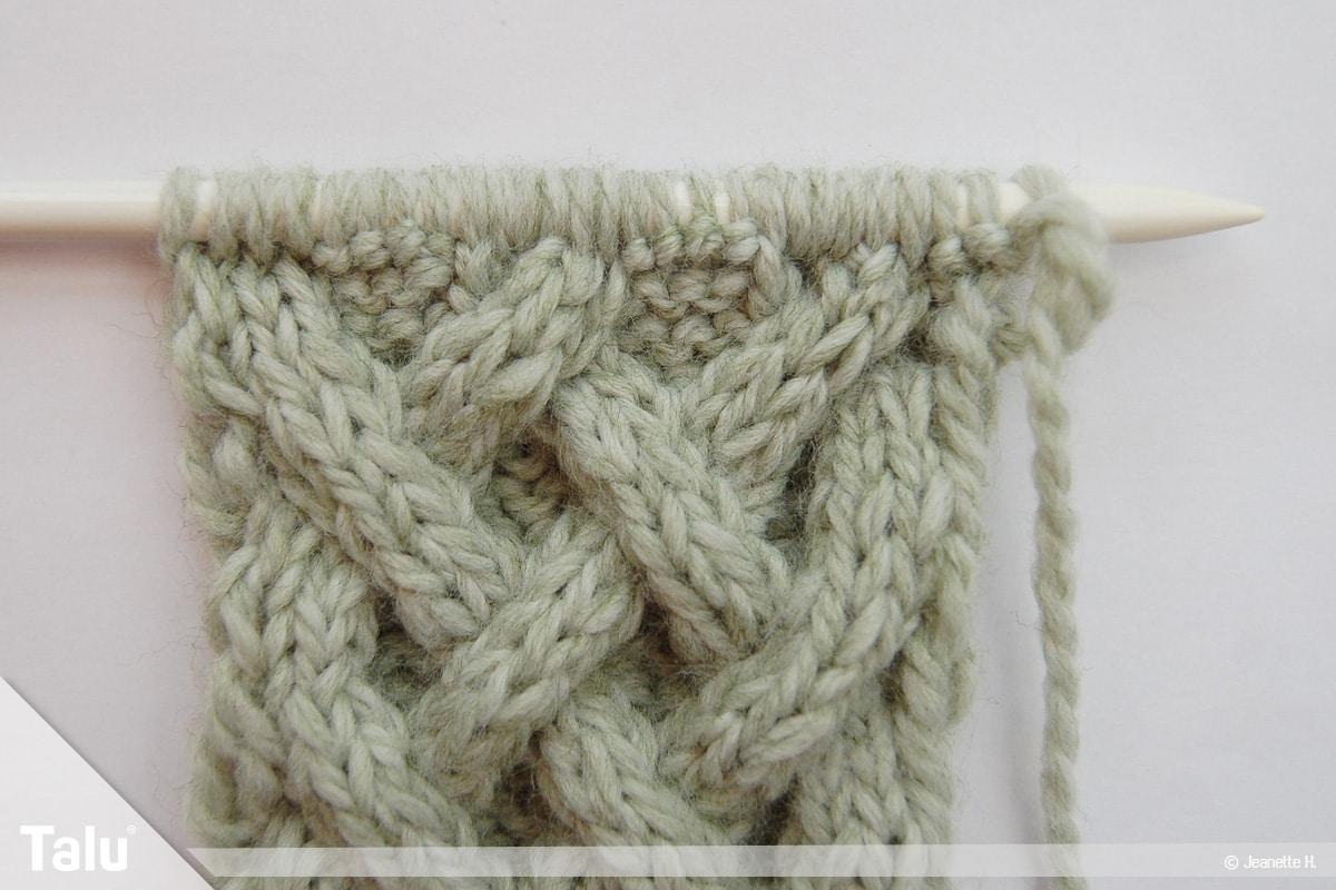 Keltische Muster stricken, Keltenmuster nach sechs Reihen