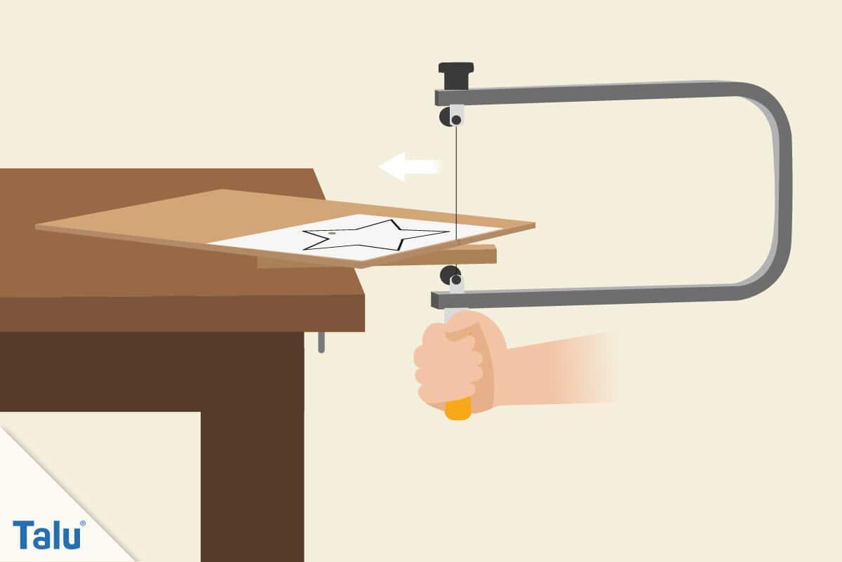 Laubsägearbeiten, Grundlagen und Vorlagen, Vorlagen-Motiv mit der Laubsäge aussägen