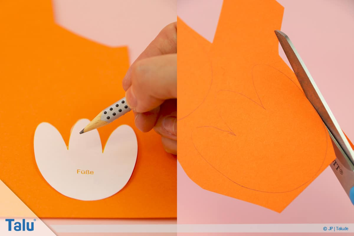Pinguin basteln mit Kindern, Anleitung, Pinguin aus Papier, Füße und Schnabel ausschneiden