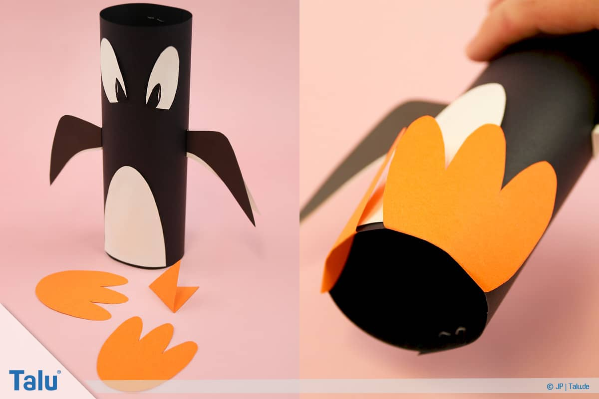 Penguen tamircilik çocuk, talimatları, sopa kağıt penguen, ayak ve Gaga ile
