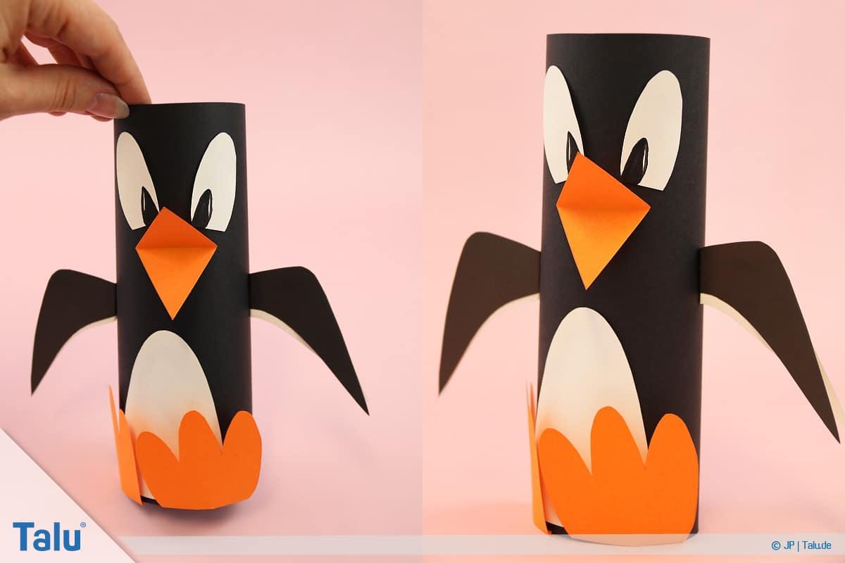 Pinguin basteln mit Kindern, Anleitung, Pinguin aus Papier, fertiger erster Pinguin