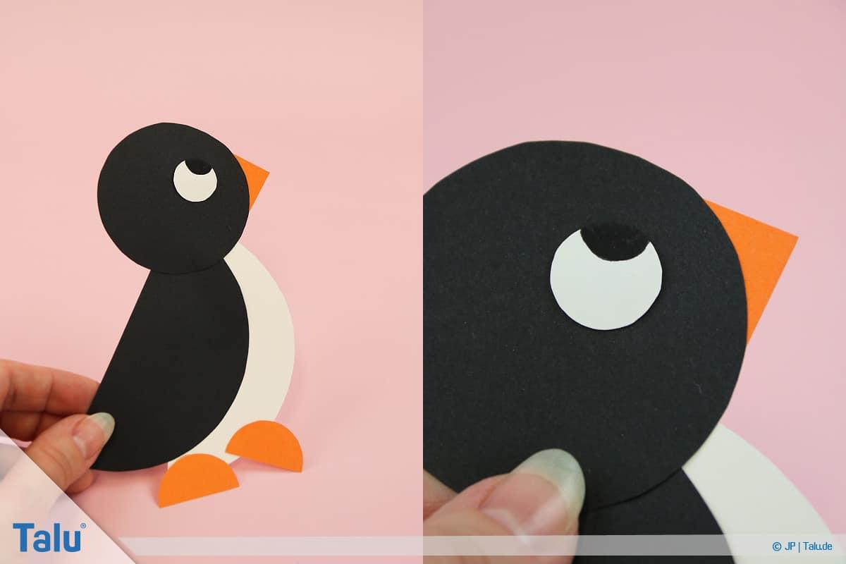 Penguen tamircilik çocuk, talimatları, kağıt çevrelerinden penguen ile bitmiş küçük penguen