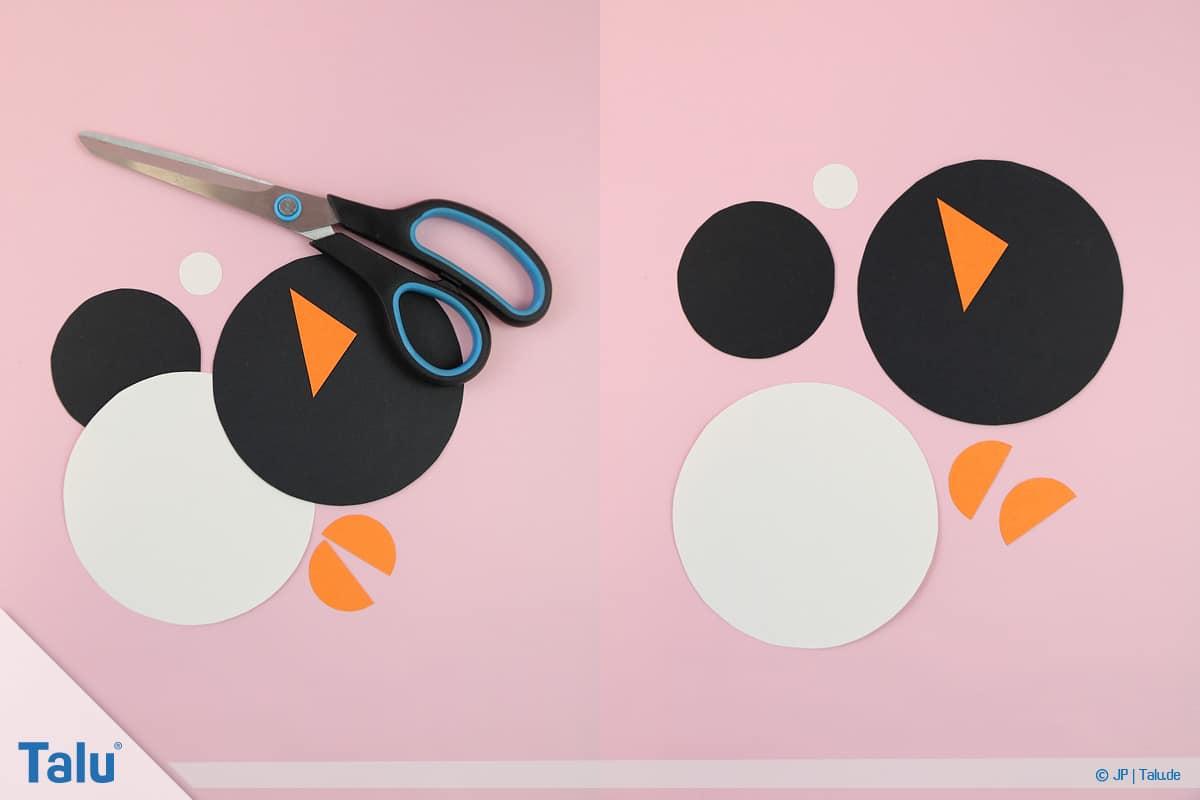 Pinguin basteln mit Kindern, Anleitung, Pinguin aus Papierkreisen, ausgeschnittene Tonpapierkreise