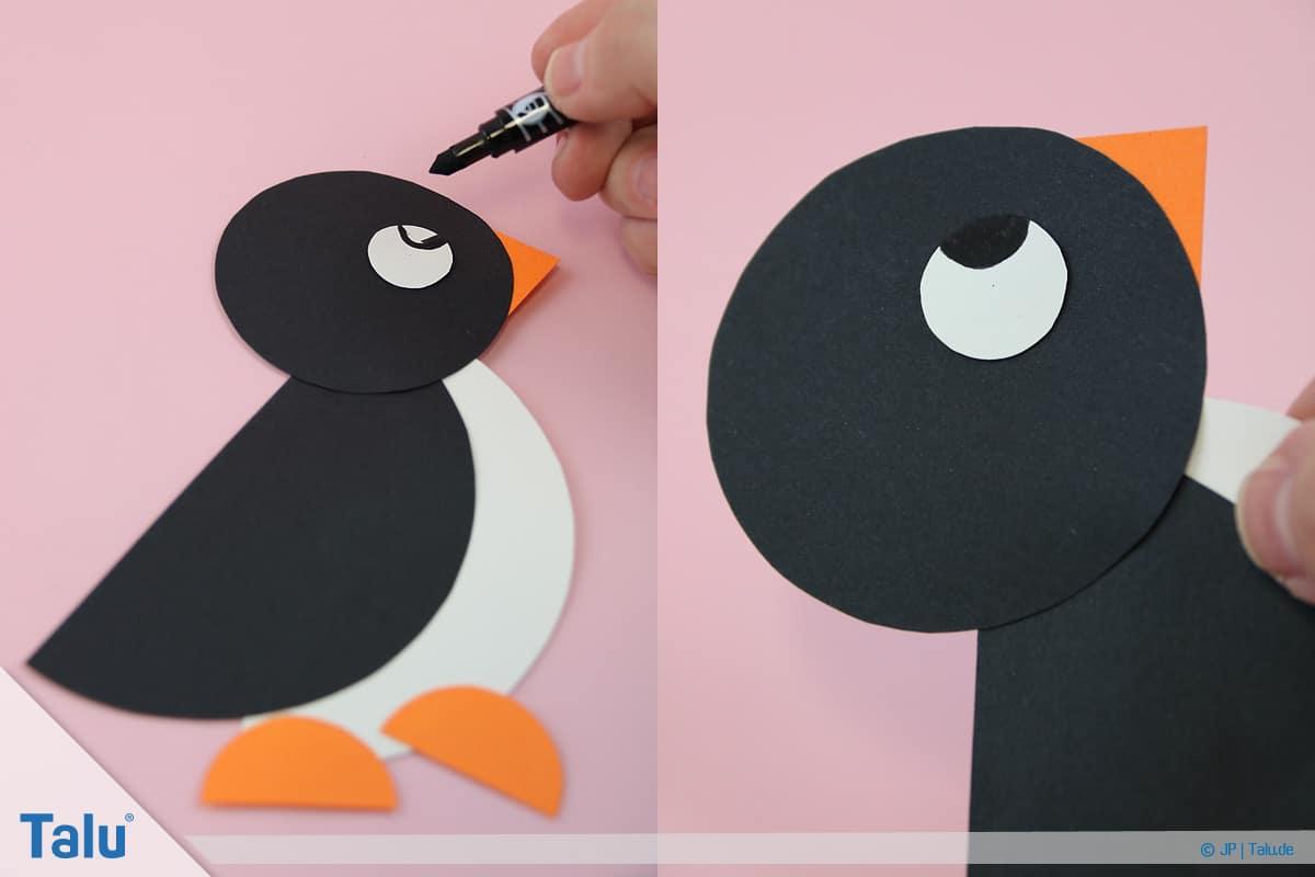 Penguen tamircilik çocuk, talimatları, kağıt çevrelerinden penguen ile öğrenci boya