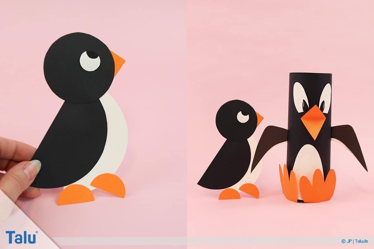 Pinguin basteln mit Kindern, Anleitung, Pinguin aus Papierkreisen, fertiger Pinguin, Variante 2