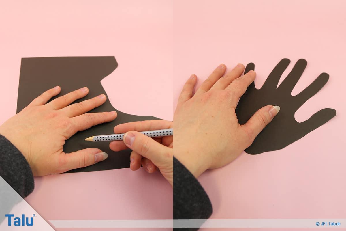 Pinguin basteln mit Kindern, Anleitung, Pinguin aus Handabdruck, Handform abzeichnen